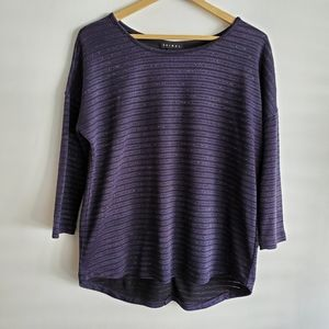 TRIBAL 3/4 Sleeve Blouse Stripes Blue Size M